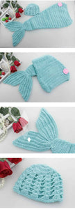 Milk Wool Yarn Hand Knit Baby Blue Mermaid Suit Newborn Photo Prop