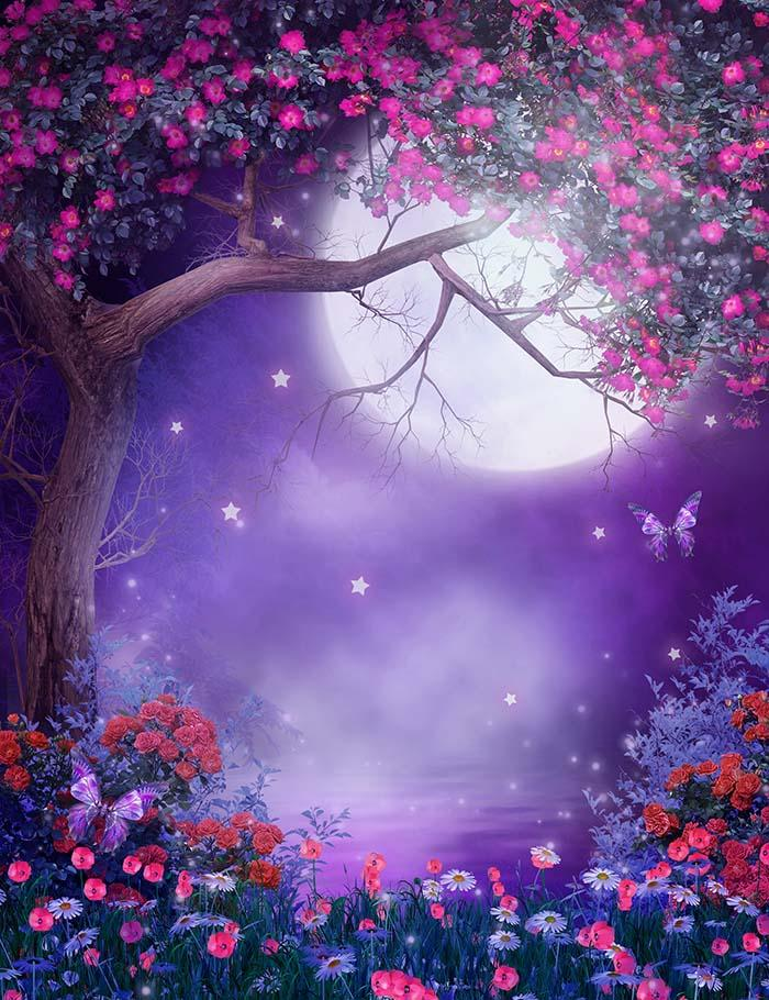Moonlight Purple Scenery Flowering Tree And Colorful Shrubs Photography Backdrop  J-0556