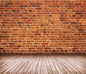 Mottled Red Brick City Wall With Wood Floor Photography Backdrop - Shop Backdrop
