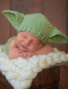 Newborn Big Ears Green Elf Hat Cotton Knit Photo Props - Shop Backdrop