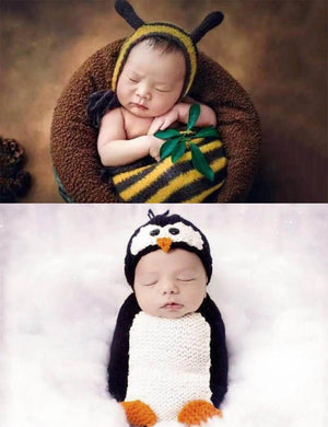 Newborn Knitted Animal Sleeping Bags Photo Props