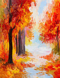 Oil Hand Painted Autumn Maple Scenery Photography Backdrop J-0974