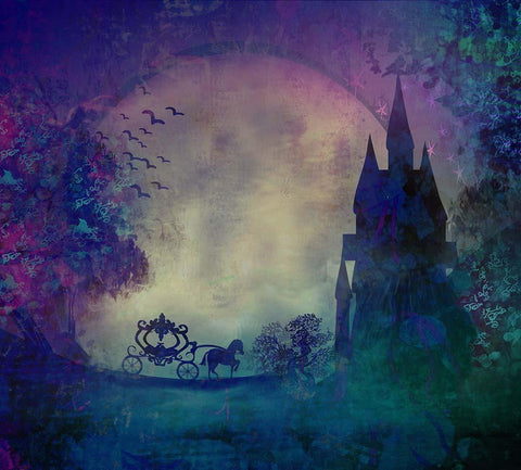 Oil Painted Magic Carriage Castle For Children Photography Fabric Backdrop J-0025
