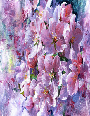 Oil Painted Purple Flower Photography Backdrop J-0797