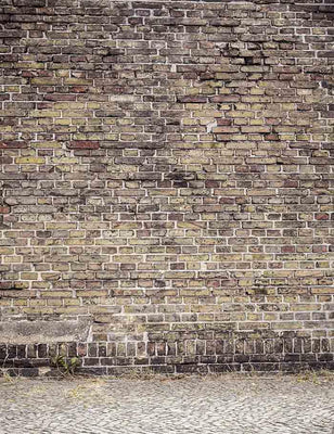 Old Brown Brick Wall With Pavement Photography Backdrop J-0061