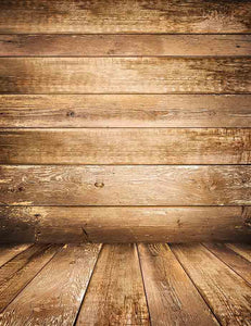 Old Brown Wooded Wall With Wood Floor Mat Photography Backdrop J-0062