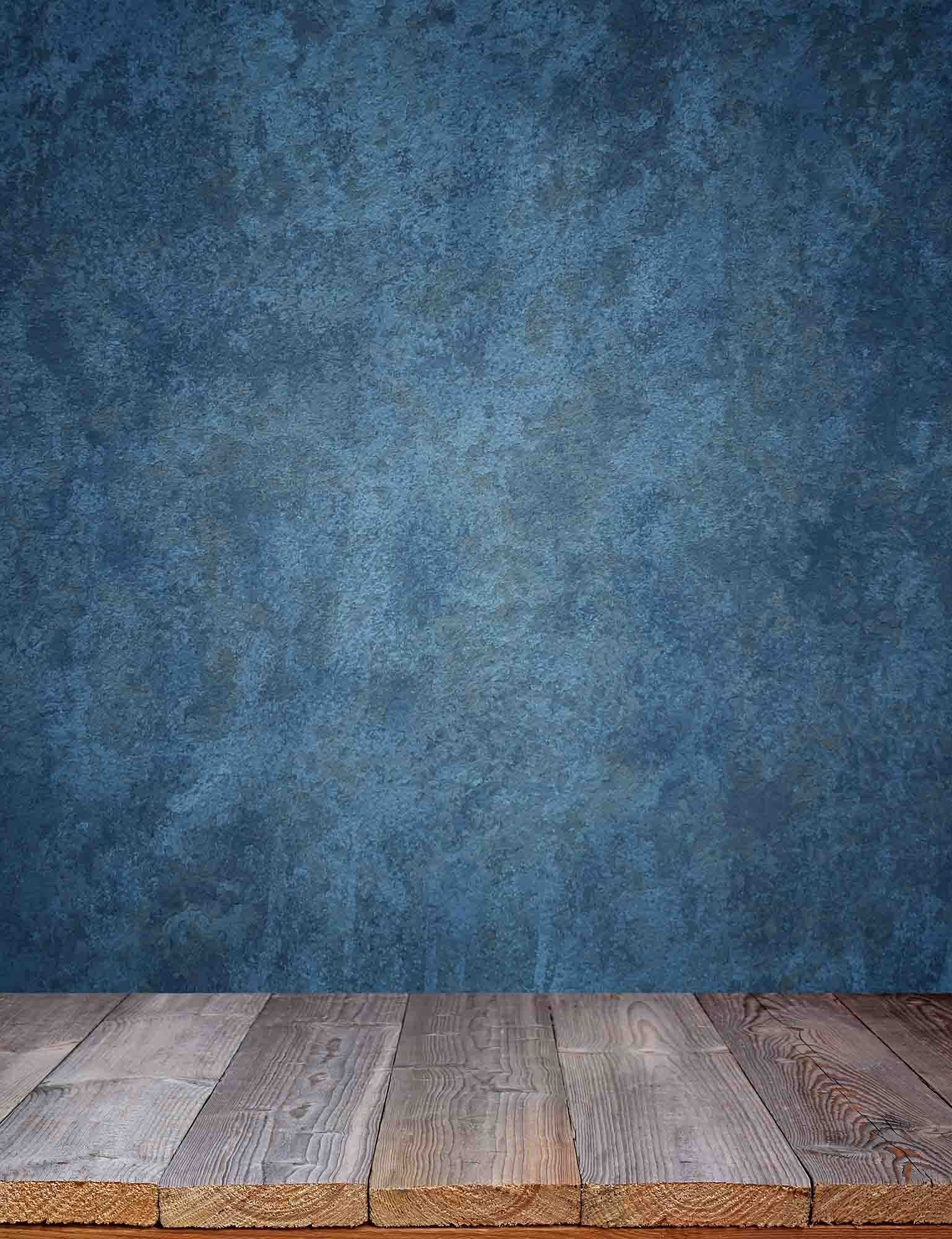 old master marine blue background wall with wood floor backdrop