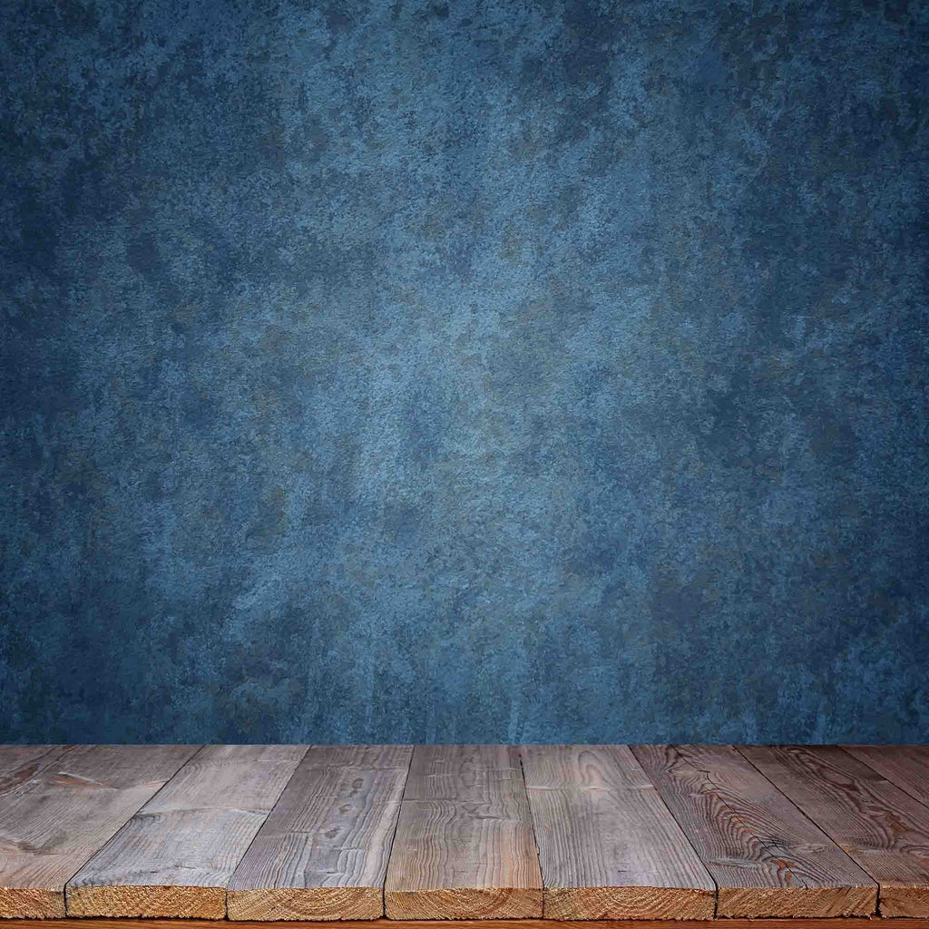 Old Master Marine Blue Background Wall With Wood Floor Backdrop -