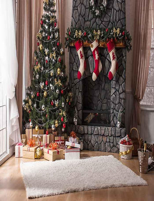 Old Stone Fireplace With Christmas Tree Indoors For Photography Backdrop  J-0118