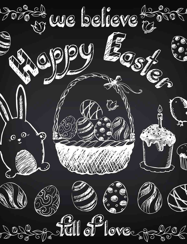 Paint Easter Background With White Chalk On Blackboard Backdrop