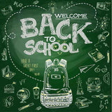 Painted 3D Back To School With Bag On Green Chalkboard Photography Backdrop J-0230