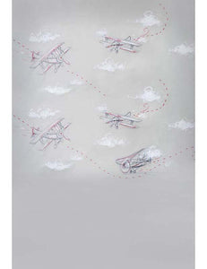 Painted Airplanes Flying In Gray Sky Photography Backdrop S-1206