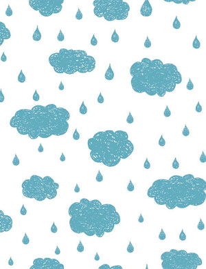 Painted Bule Clouds And Raindrop For Baby Photography Backdrop