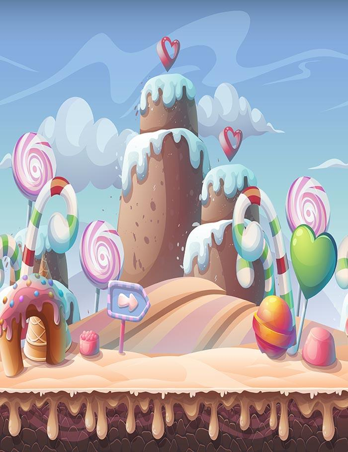 Painted Candy Mountain House Christmas Crutch For Children Photography Backdrop J-0367