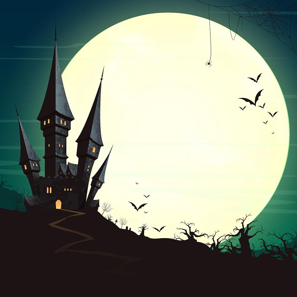 Painted Castle With Moonlight For Halloween Photography Backdrop N-0011
