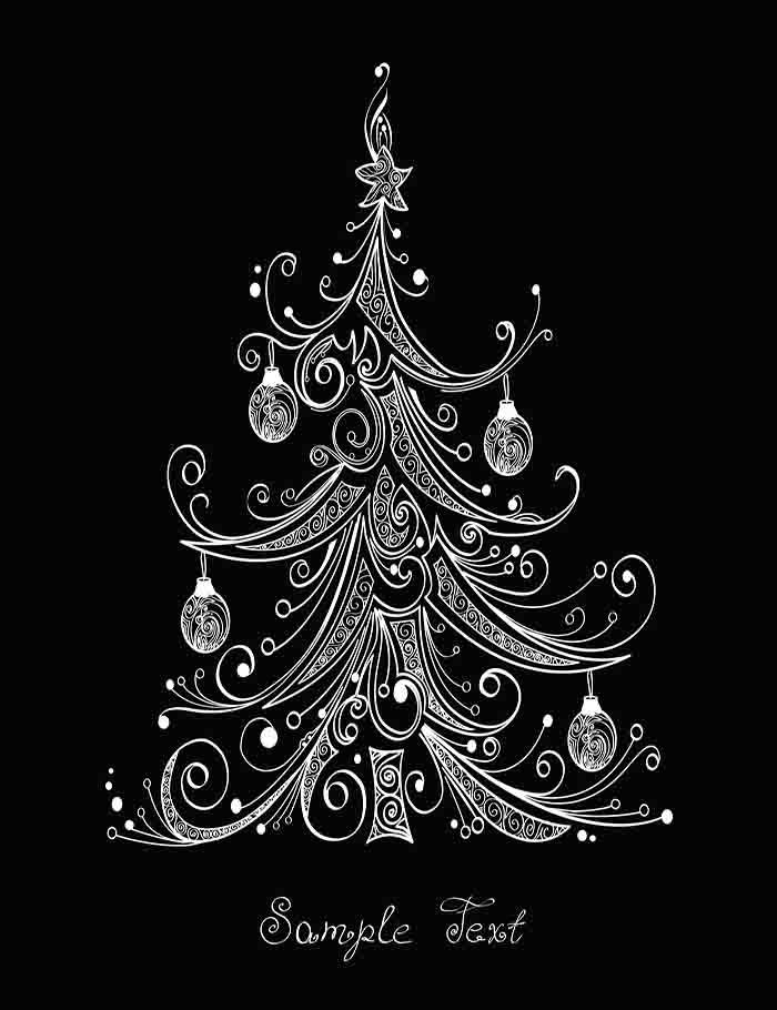Painted Christmas Tree On Blackboard For Holiday Photography Backdrop  J-0148
