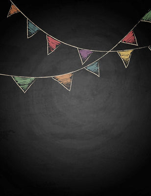 Painted Colorful Party Flags On Chalkboard Photo Backdrop