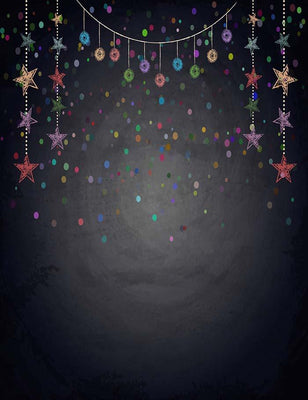 Painted Colorful Stars On Blackboard For Christmas Photography Backdrop J-0169