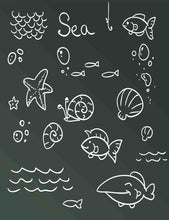 Painted Fish Seashells On Chalkboard For Baby Photography Backdrop
