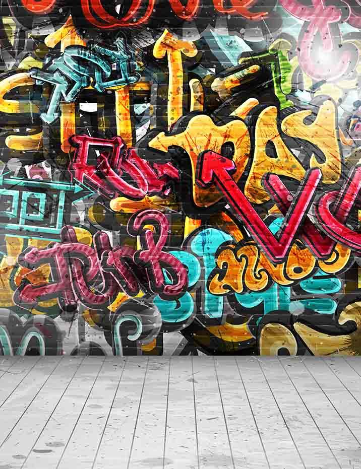 Painted Graffiti Brick Wall With Wood Floor Photography Backdrop J 0324