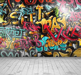 Painted Graffiti Brick Wall With Stone Floor Photography Backdrop J-0324