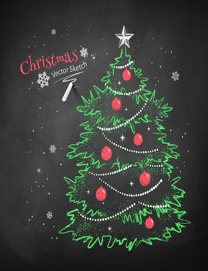 Painted Green Christmas Tree On Blackboard For Holiday Photography Backdrop N-0010