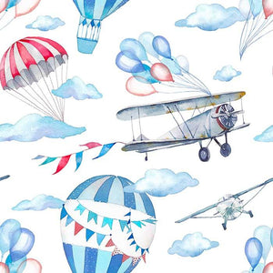 Painted Parachute Air Plane For Baby Photography Backdrop J-0212