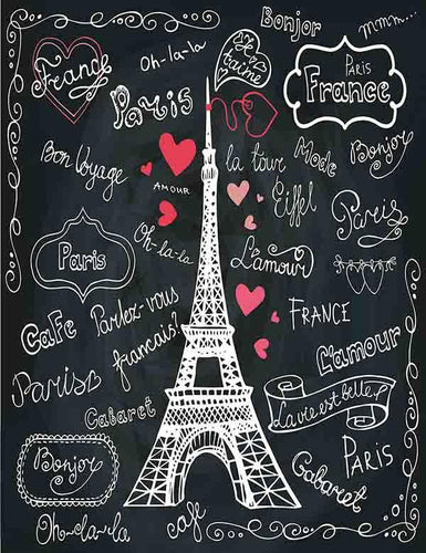 Painted Paris And Red Hearts On Chalkboard For Valentines Photo Backdrop