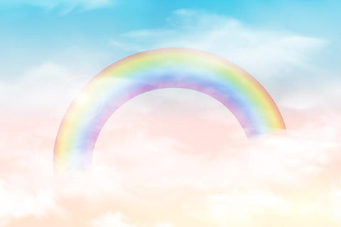 Painted Rainbow With Clouds For Baby Photography Backdrop J-0303