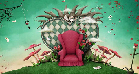 Painted Red Chair Mushroom Red Hearts For Children Magical Photography Backdrop  J-0356