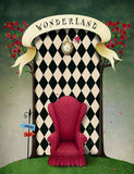 Painted Red Chair With Wonderland Backdrop For Children Photography J-0355