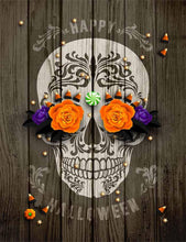 Painted SKull On Senior Wood Wall For Halloween Photography Backdrop J-0119