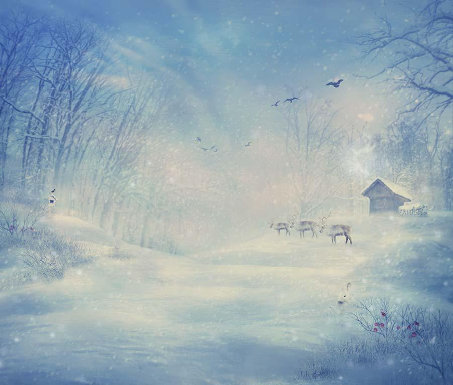 Painted Snow Forest With Deers Photography Backdrop J-0462