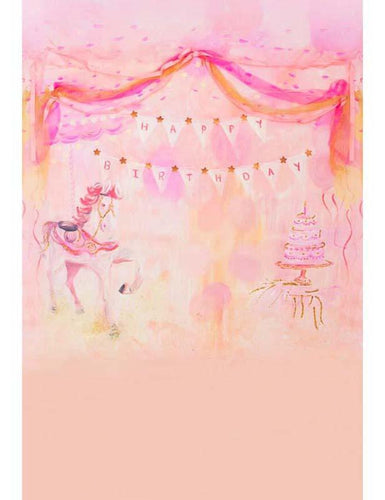Painted Unicorn And Cake With Pink Background For Birthday Photography Backdrop S-1204