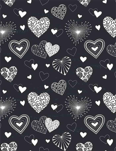 Painted Variety Hearts On Chalkboard For Valentines Day Photography Backdrop