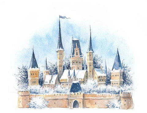 Painted Watercolor Winter Medieval Castle In The Snow Photography Backdrop J-0195