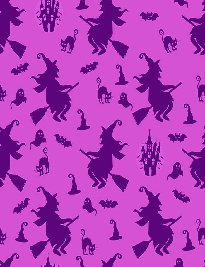 Painted Witch Cats Step And Repeat Photography Backdrop  J-0193
