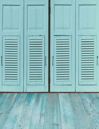 Pale Blue Folding Blinds Door With Wood Floor Photography Backdrop S-2202