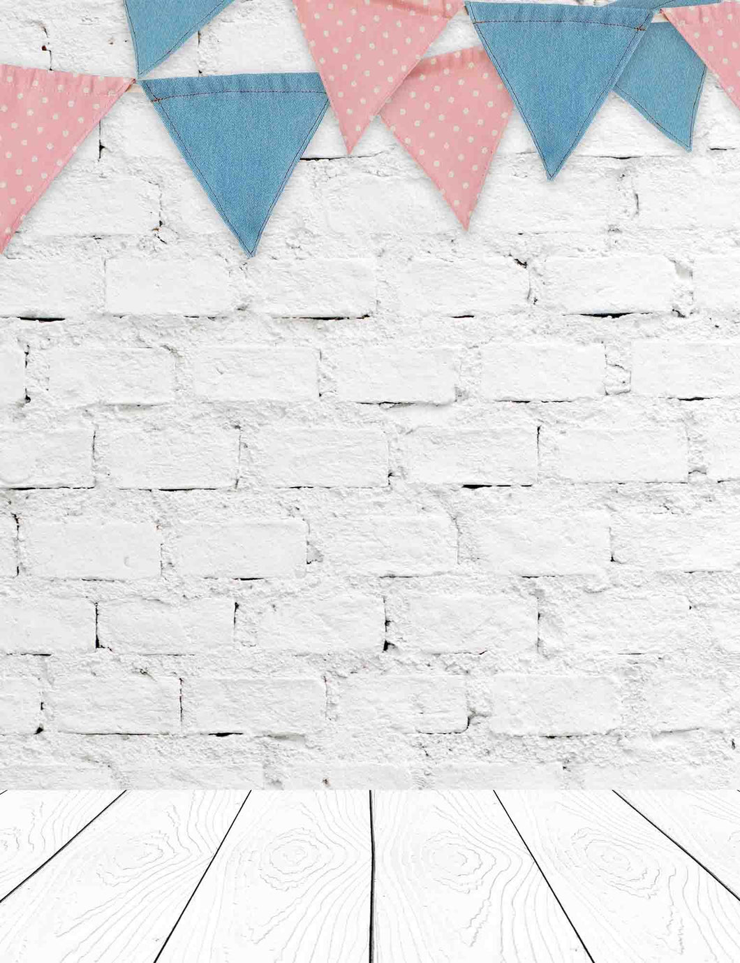 Party Flags Hanging On White Brick Wall With Wood Floor Backdrop