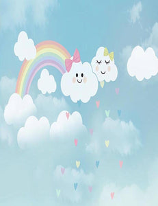 Patterns Clouds Rainbow For Children Photography Backdrop lv-035