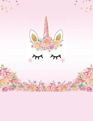 Patterns Pink Unicorn With Flower Backdrop  For Photography lv-034