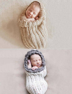 Peanut Knitted Sleeping Bag For Newborn Photo Props