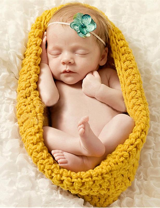 Photo Props Baby Sleeping Bag Cotton Knit Set For Newborn Photography - Shop Backdrop