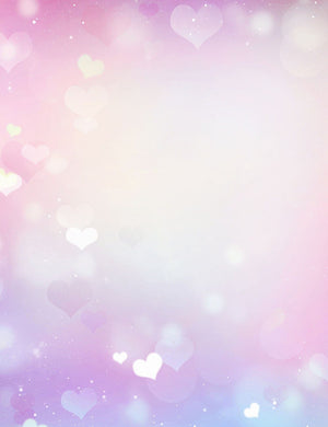Pink And Purple Bokeh With Hearts For Wedding Photography Backdrop