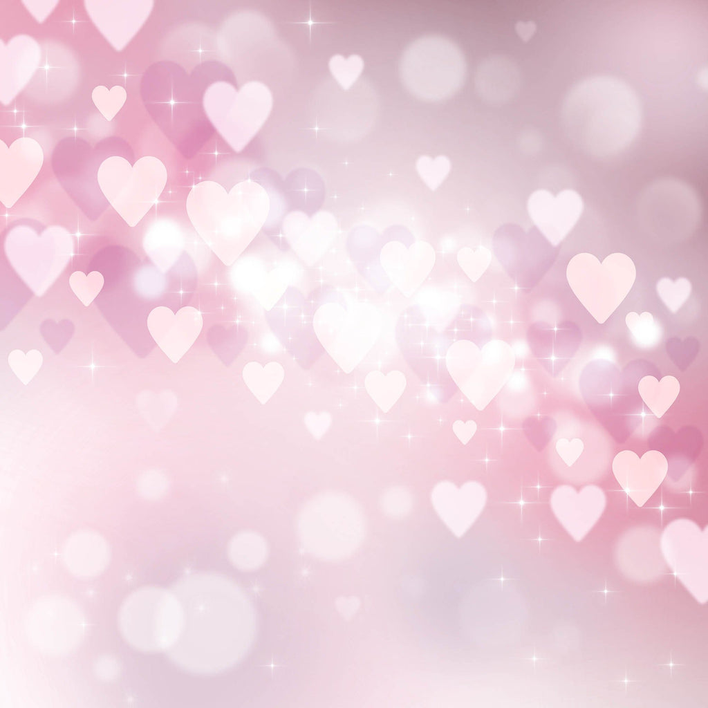 Pink And Red Heart Bokeh Photography For Valentines Day Backdrop
