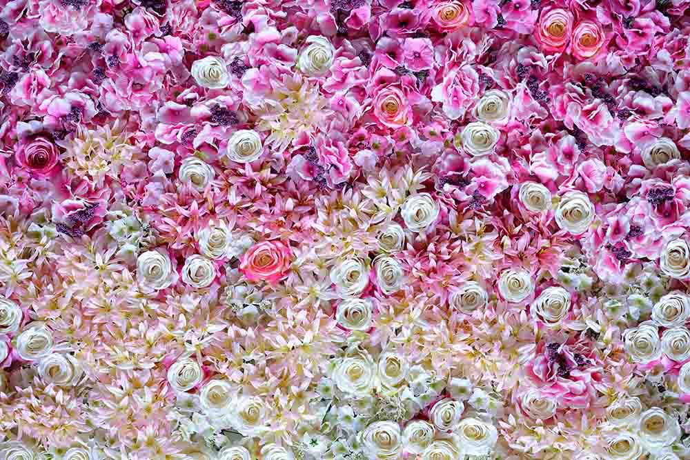 Pink And White Flowers Make Wall For Happy Event Backdrop Photography
