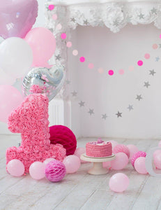 Pink Balloons And Fireplace For Baby 1 Birthday Photo Backdrop