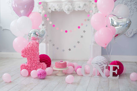 Pink Balloons And Fireplace For Baby 1 Birthday Photo Backdrop - Shop Backdrop