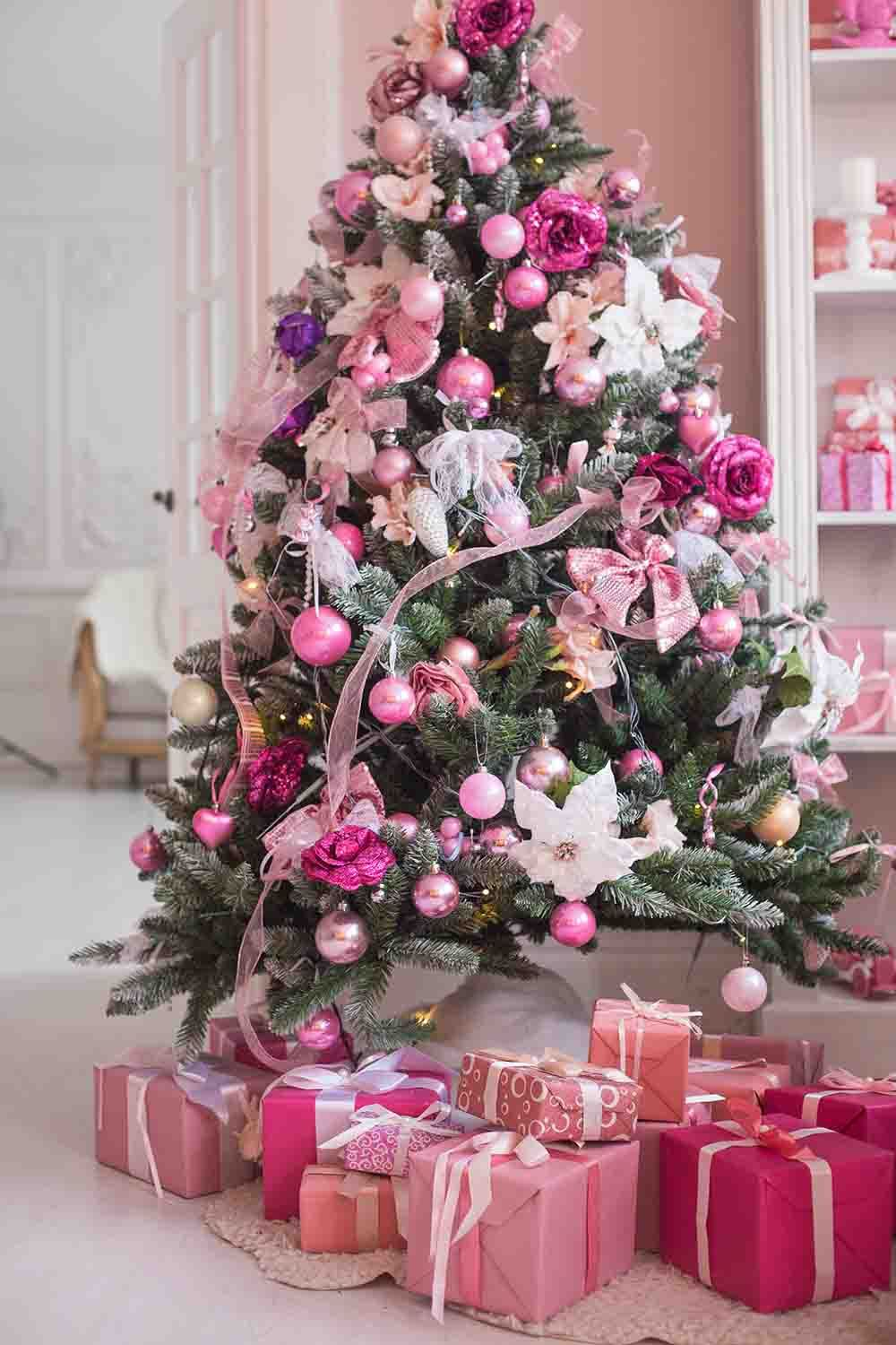 Pink Balls On Christmas Tree Holiday Photography Backdrop