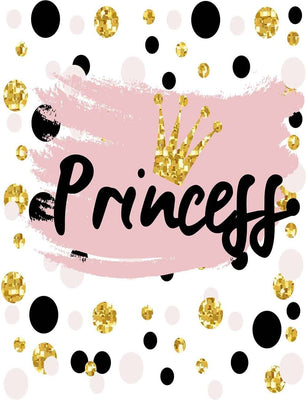 Pink Black Dots With Princess For Girl Birthday Photography Fabric Backdrop J-0039